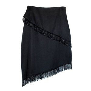 Vintage Satin Pencil Skirt w/ Beaded Fringe